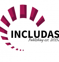 INCLUDAS Publishing logo with spiral rectangle steps increasing, in color magenta.